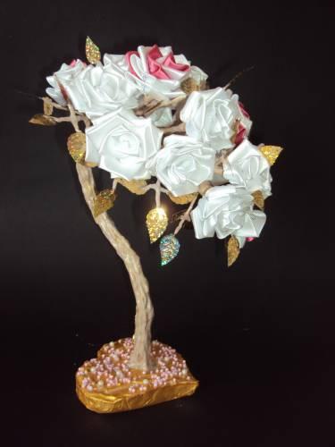Дерево счастья своими руками из атласных лент. Мастер 49